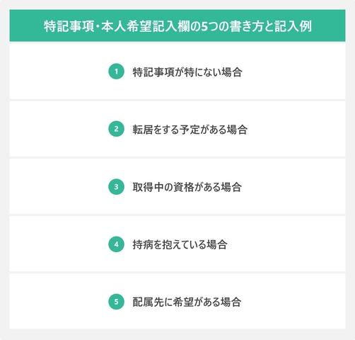 特記事項・本人希望記入欄の5つの書き方と記入例を表した図