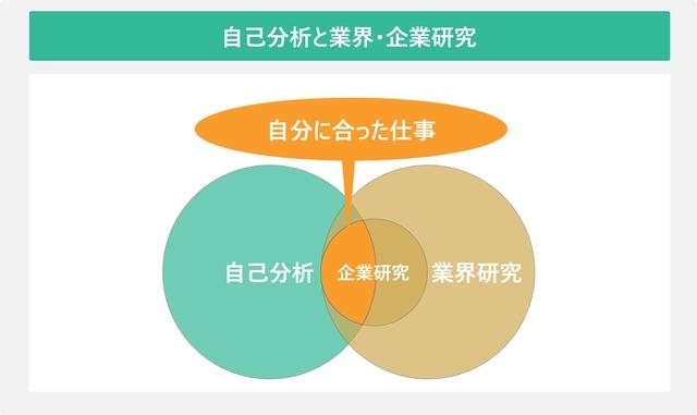 自己分析と業界・企業分析を表した図